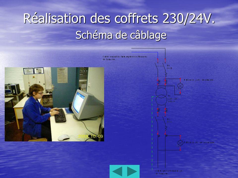 Réalisation des coffrets 230/24V. Schéma de câblage