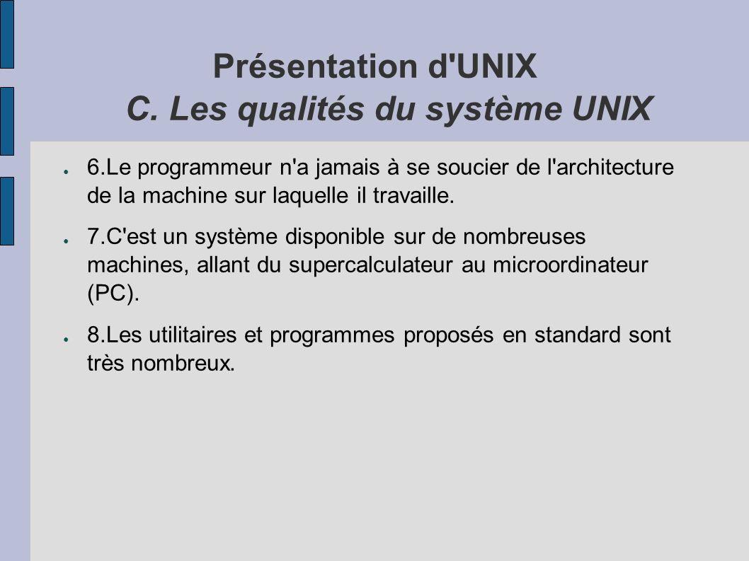 Présentation d UNIX C.