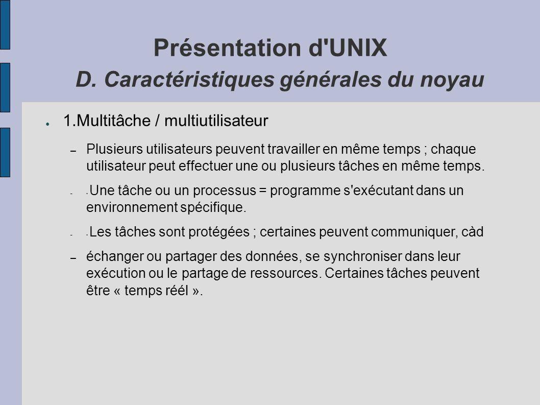 Présentation d UNIX D.