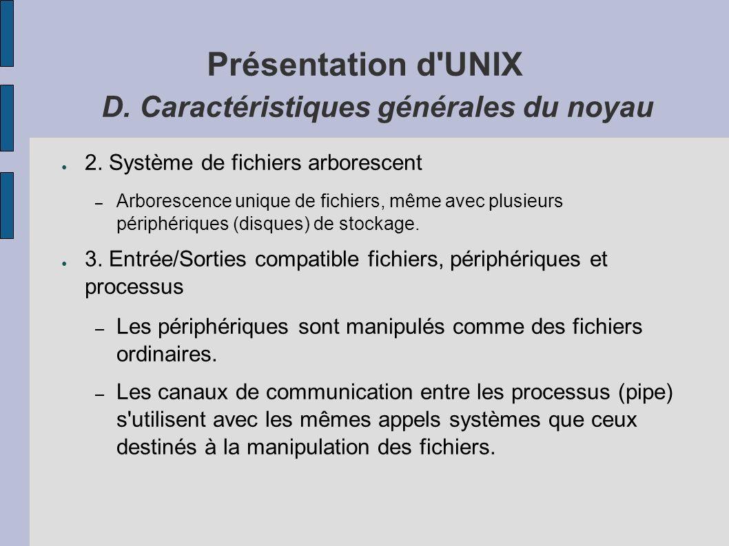 Présentation d UNIX D. Caractéristiques générales du noyau 2.