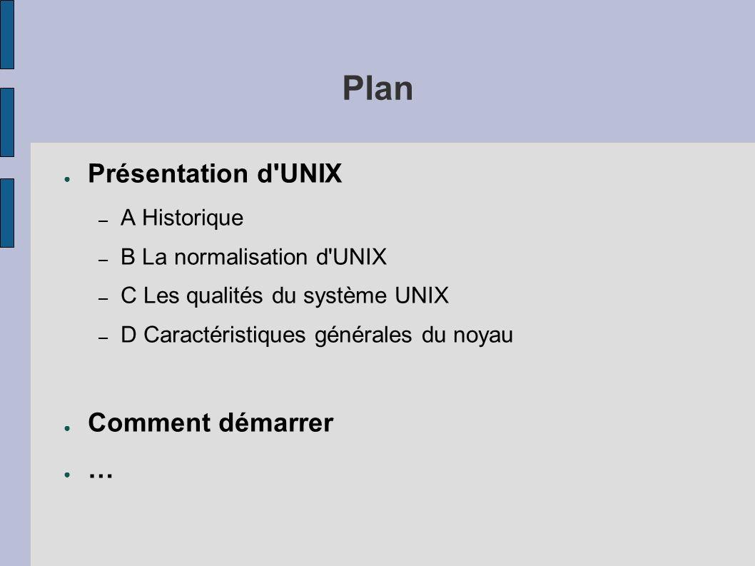 Plan Présentation d UNIX – A Historique – B La normalisation d UNIX – C Les qualités du système UNIX – D Caractéristiques générales du noyau Comment démarrer …