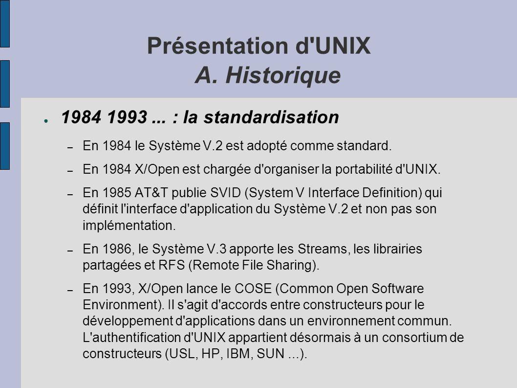 Présentation d UNIX A. Historique 1984 1993...