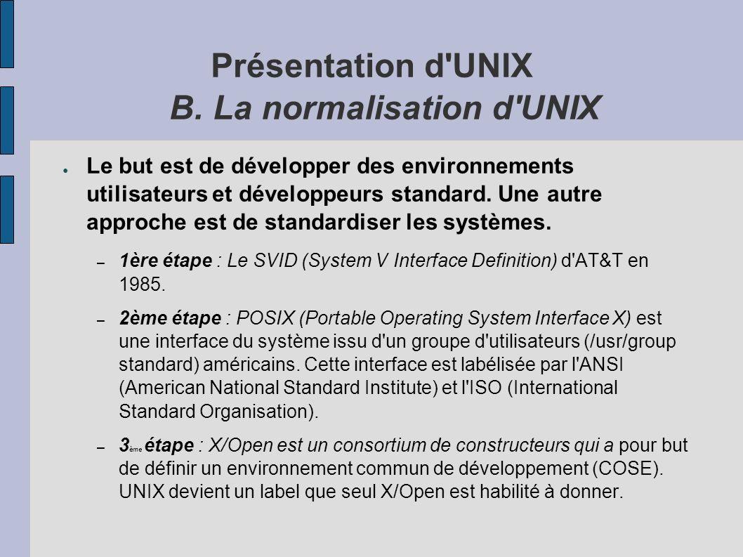 Présentation d UNIX B.