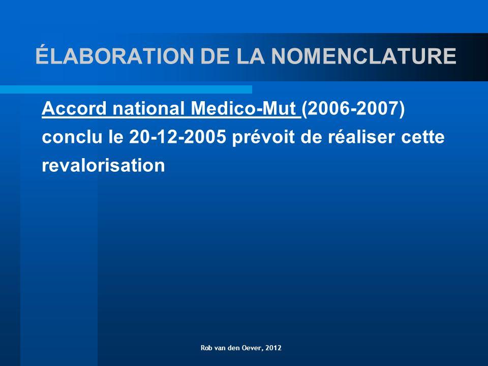 ÉLABORATION DE LA NOMENCLATURE Accord national Medico-Mut (2006-2007) conclu le 20-12-2005 prévoit de réaliser cette revalorisation Rob van den Oever, 2012