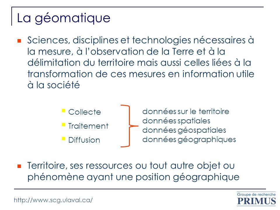 La géomatique Sciences, disciplines et technologies nécessaires à la mesure, à lobservation de la Terre et à la délimitation du territoire mais aussi