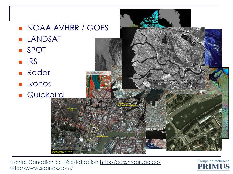 NOAA AVHRR / GOES LANDSAT SPOT IRS Radar Ikonos Quickbird Centre Canadien de Télédétection http://ccrs.nrcan.gc.ca/ http://www.scanex.com/http://ccrs.