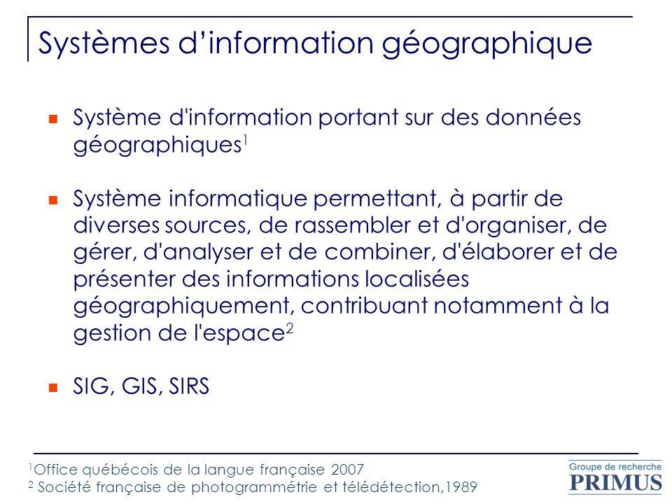 Système d'information portant sur des données géographiques 1 Système informatique permettant, à partir de diverses sources, de rassembler et d'organi