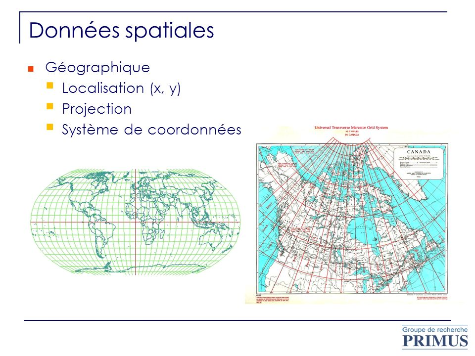 Géométrique Format matriciel (raster) images satellite images scannées cartes thématiques Format vectoriel point ligne polygone Topologie Adjacence Connectivité Contention MRNQ 2007; Google Earth 2007