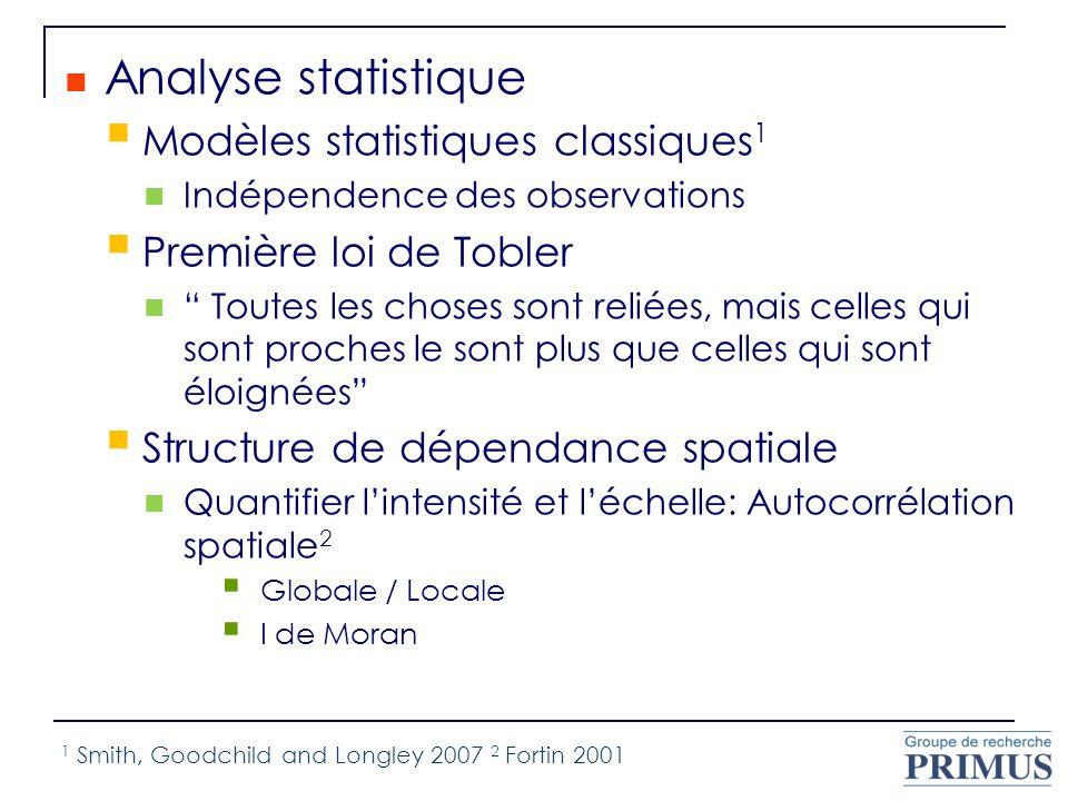 Analyse statistique Modèles statistiques classiques 1 Indépendence des observations Première loi de Tobler Toutes les choses sont reliées, mais celles