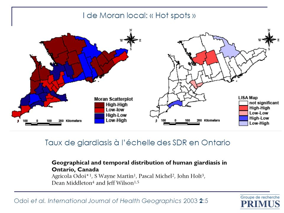 Odoi et al. International Journal of Health Geographics 2003 2 :5 Taux de giardiasis à léchelle des SDR en Ontario I de Moran local: « Hot spots »
