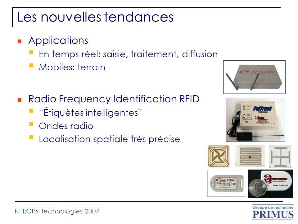 Les nouvelles tendances Applications En temps réel: saisie, traitement, diffusion Mobiles: terrain Radio Frequency Identification RFID Étiquètes intel