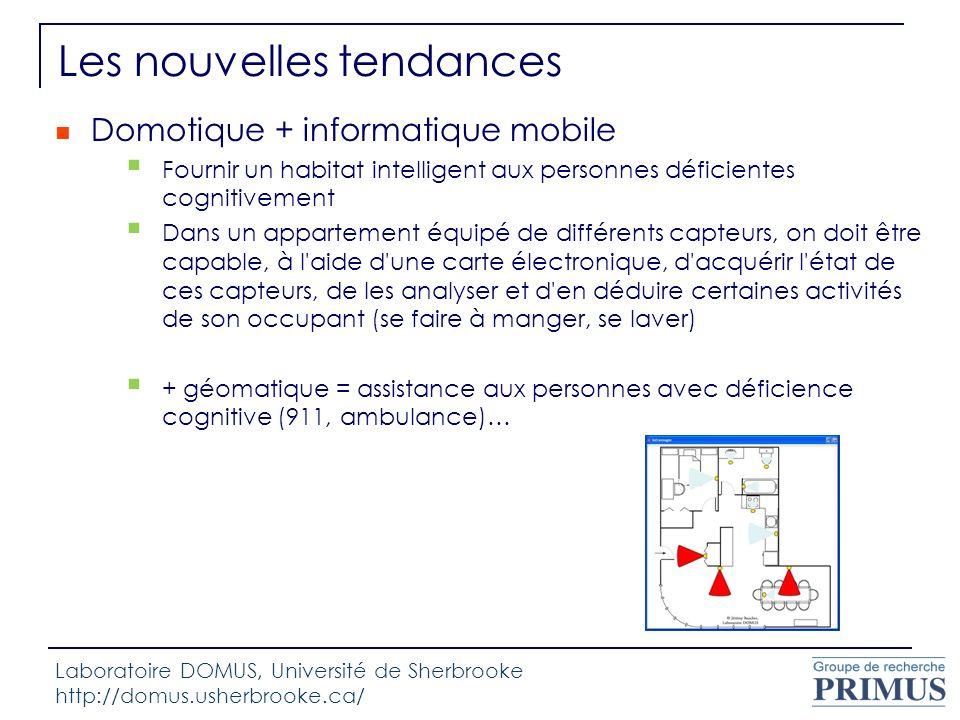 Les nouvelles tendances Domotique + informatique mobile Fournir un habitat intelligent aux personnes déficientes cognitivement Dans un appartement équ