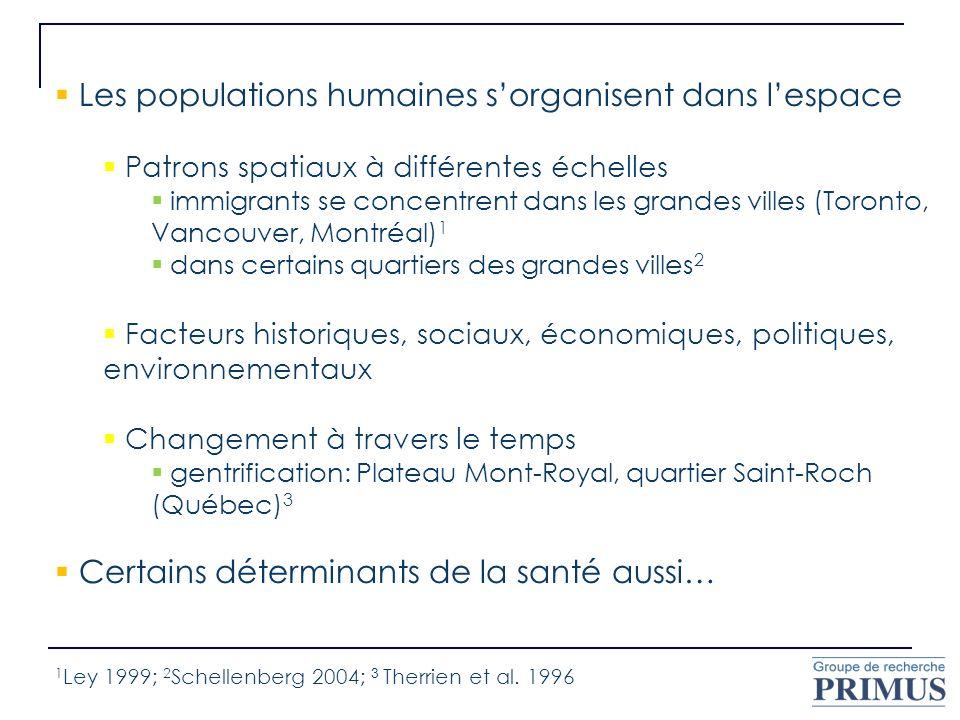 Les populations humaines sorganisent dans lespace Patrons spatiaux à différentes échelles immigrants se concentrent dans les grandes villes (Toronto,