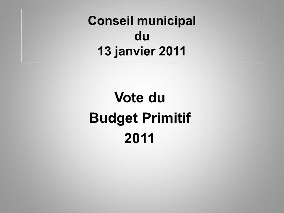 Conseil municipal du 13 janvier 2011 Vote du Budget Primitif 2011 1