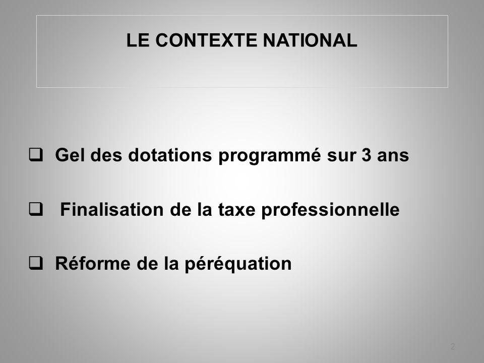 LE CONTEXTE NATIONAL Gel des dotations programmé sur 3 ans Finalisation de la taxe professionnelle Réforme de la péréquation 2