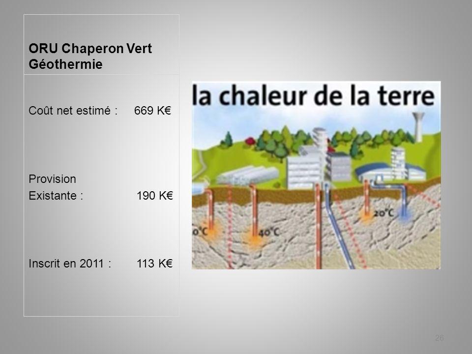 ORU Chaperon Vert Géothermie Coût net estimé : 669 K Provision Existante : 190 K Inscrit en 2011 : 113 K 26