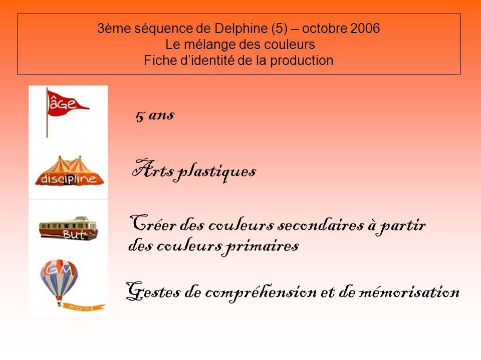 3ème séquence de Delphine (5) – octobre 2006 Le mélange des couleurs Fiche didentité de la production 5 ans Arts plastiques Créer des couleurs seconda