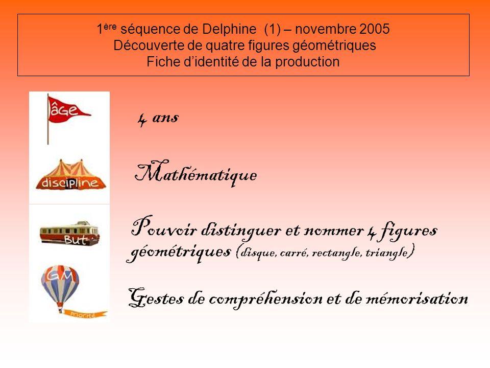 1 ère séquence de Delphine (1) – novembre 2005 Découverte de quatre figures géométriques Fiche didentité de la production 4 ans Mathématique Pouvoir d