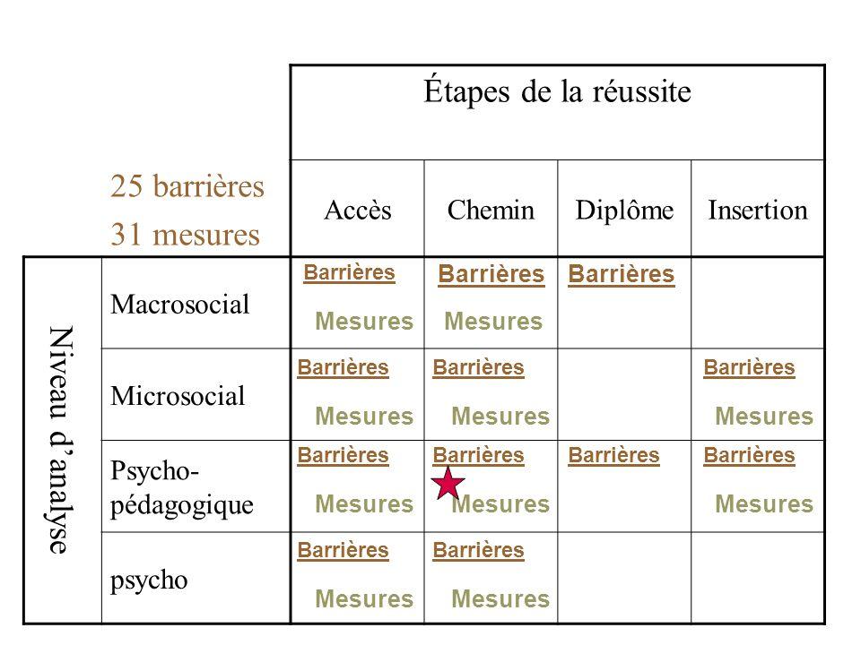 Étapes de la réussite 25 barrières 31 mesures AccèsCheminDiplômeInsertion Niveau danalyse Macrosocial Microsocial Psycho- pédagogique psycho Barrières Mesures