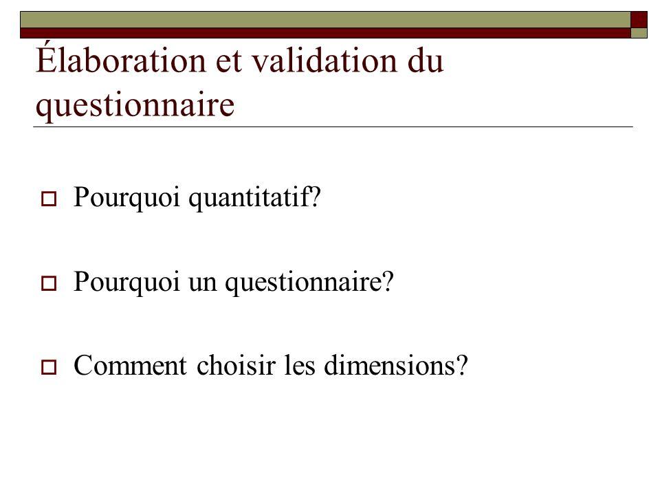 Élaboration et validation du questionnaire Pourquoi quantitatif.