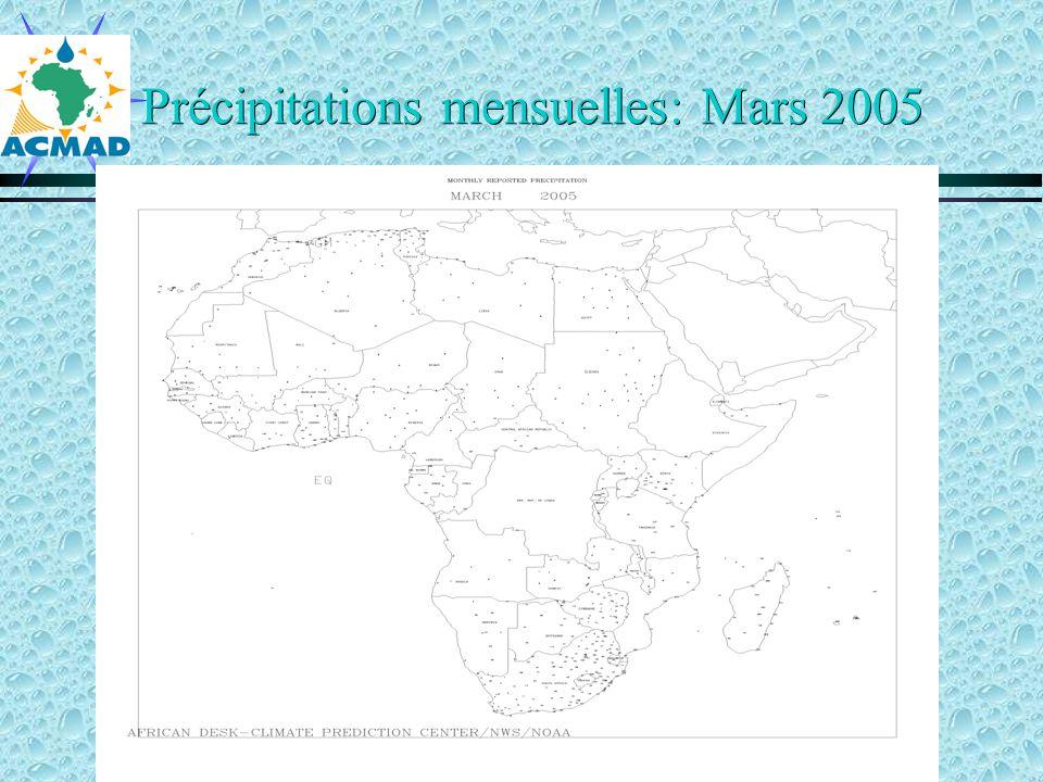 Précipitations mensuelles: Mars 2005