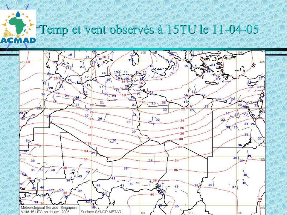 Temp et vent observés à 15TU le 11-04-05