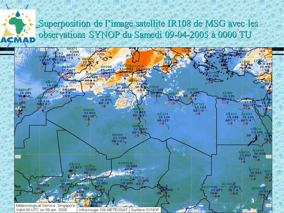 Superposition de limage satellite IR108 de MSG avec les observations SYNOP du Samedi 09-04-2005 à 0000 TU