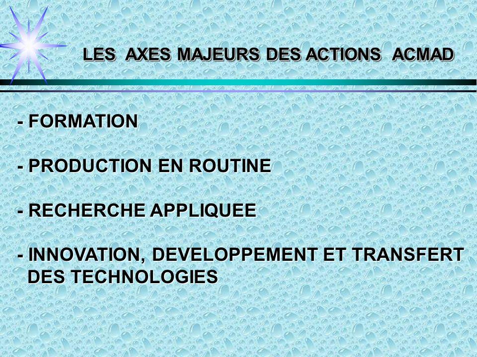 - FORMATION - PRODUCTION EN ROUTINE - RECHERCHE APPLIQUEE - INNOVATION, DEVELOPPEMENT ET TRANSFERT DES TECHNOLOGIES DES TECHNOLOGIES LES AXES MAJEURS DES ACTIONS ACMAD
