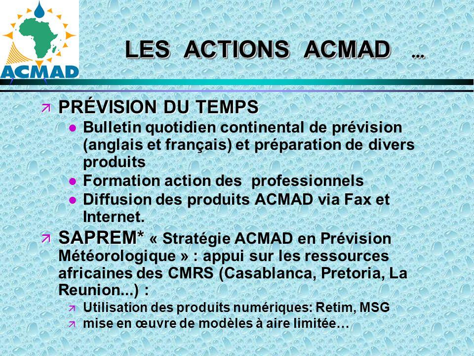 PRÉVISION DU TEMPS PRÉVISION DU TEMPS l l Bulletin quotidien continental de prévision (anglais et français) et préparation de divers produits l l Formation action des professionnels l l Diffusion des produits ACMAD via Fax et Internet.