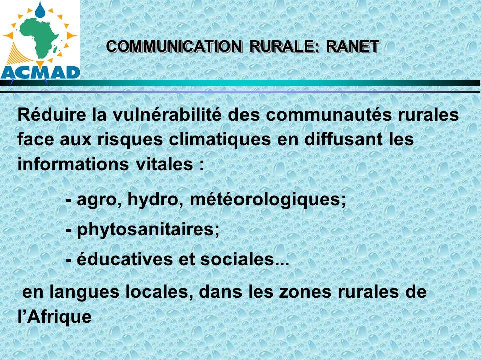 COMMUNICATION RURALE: RANET Réduire la vulnérabilité des communautés rurales face aux risques climatiques en diffusant les informations vitales : - agro, hydro, météorologiques; - phytosanitaires; - éducatives et sociales...