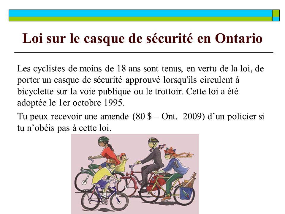 Loi sur le casque de sécurité en Ontario Les cyclistes de moins de 18 ans sont tenus, en vertu de la loi, de porter un casque de sécurité approuvé lorsqu ils circulent à bicyclette sur la voie publique ou le trottoir.