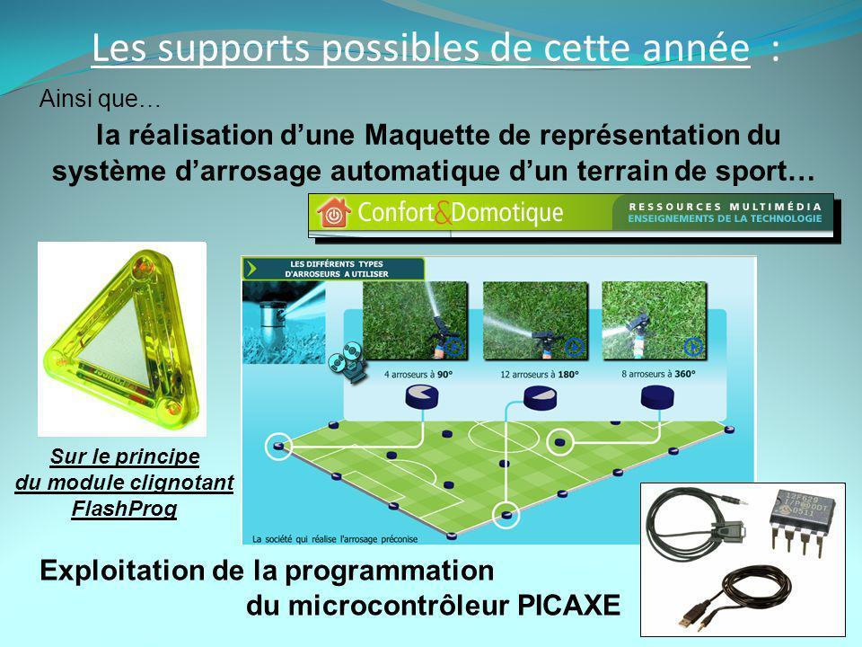 Les supports possibles de cette année : Ainsi que… la réalisation dune Maquette de représentation du système darrosage automatique dun terrain de sport… Exploitation de la programmation du microcontrôleur PICAXE Sur le principe du module clignotant FlashProg