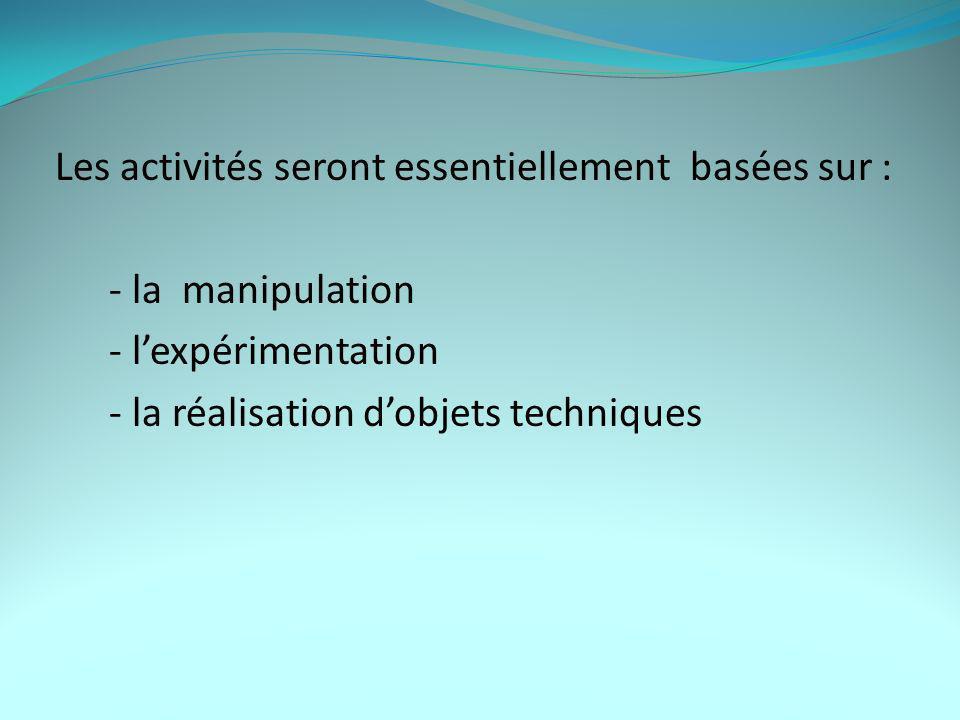 Les activités seront essentiellement basées sur : - la manipulation - lexpérimentation - la réalisation dobjets techniques