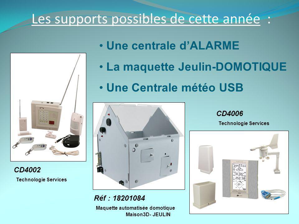 Les supports possibles de cette année : Une centrale dALARME La maquette Jeulin-DOMOTIQUE Une Centrale météo USB CD4002 Technologie Services CD4006 Technologie Services Réf : 18201084 Maquette automatisée domotique Maison3D- JEULIN