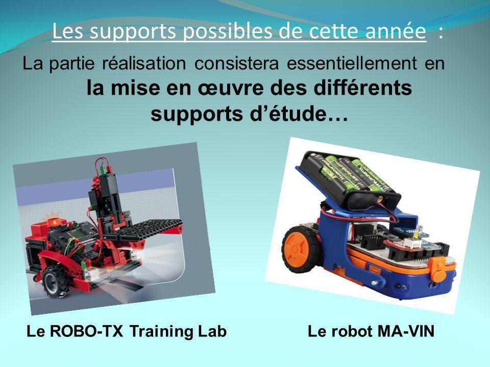 Les supports possibles de cette année : La partie réalisation consistera essentiellement en la mise en œuvre des différents supports détude… Le ROBO-TX Training Lab Le robot MA-VIN
