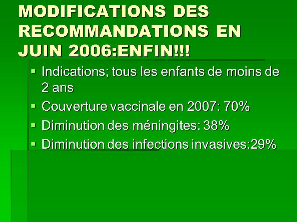 MODIFICATIONS DES RECOMMANDATIONS EN JUIN 2006:ENFIN!!! Indications; tous les enfants de moins de 2 ans Indications; tous les enfants de moins de 2 an