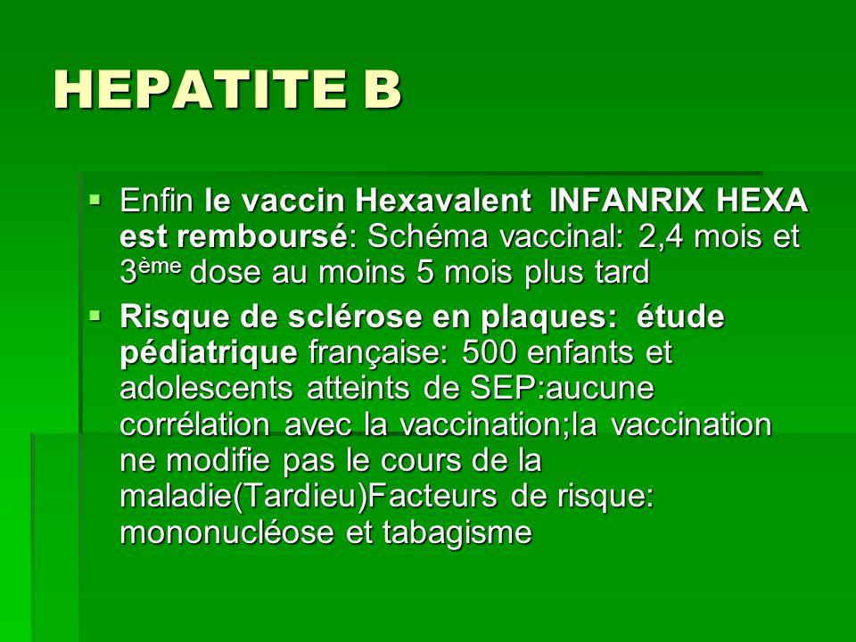 HEPATITE B Enfin le vaccin Hexavalent INFANRIX HEXA est remboursé: Schéma vaccinal: 2,4 mois et 3 ème dose au moins 5 mois plus tard Enfin le vaccin H