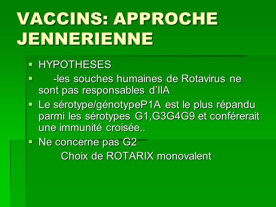 VACCINS: APPROCHE JENNERIENNE HYPOTHESES HYPOTHESES -les souches humaines de Rotavirus ne sont pas responsables dIIA -les souches humaines de Rotaviru