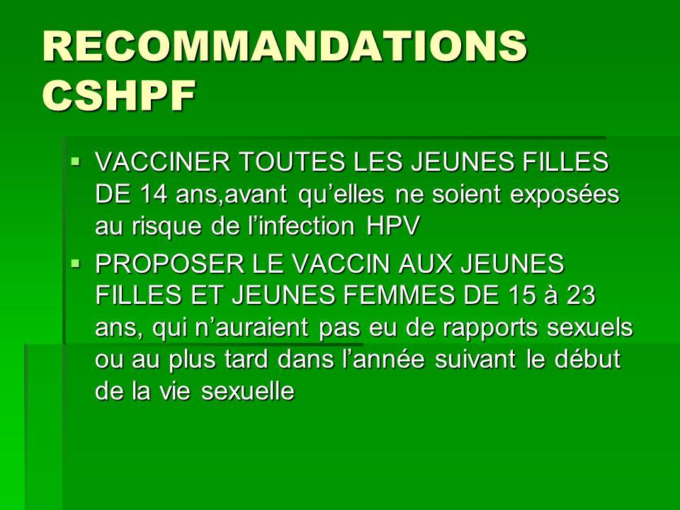 RECOMMANDATIONS CSHPF VACCINER TOUTES LES JEUNES FILLES DE 14 ans,avant quelles ne soient exposées au risque de linfection HPV VACCINER TOUTES LES JEU