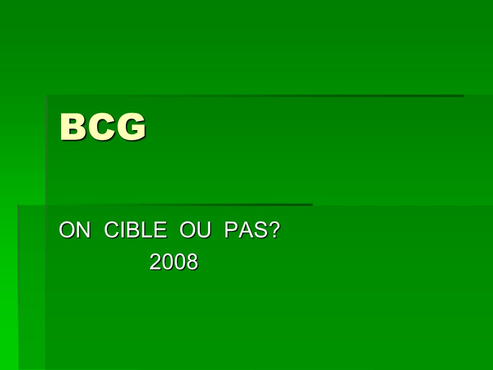 BCG ON CIBLE OU PAS? 2008 2008