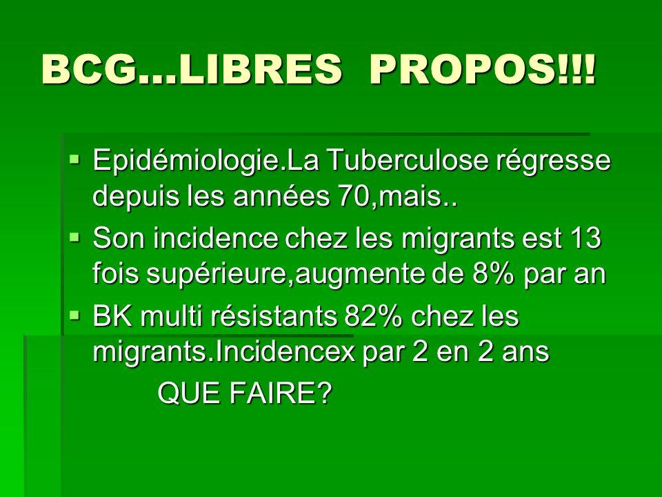 BCG…LIBRES PROPOS!!! Epidémiologie.La Tuberculose régresse depuis les années 70,mais.. Epidémiologie.La Tuberculose régresse depuis les années 70,mais