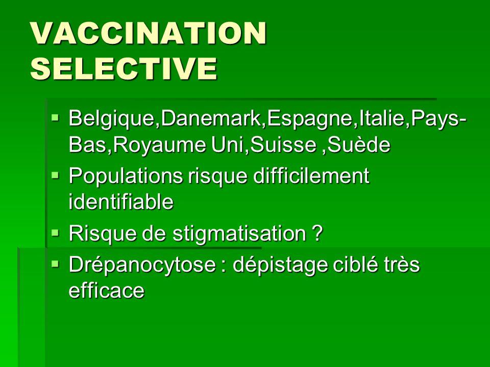 VACCINATION SELECTIVE Belgique,Danemark,Espagne,Italie,Pays- Bas,Royaume Uni,Suisse,Suède Belgique,Danemark,Espagne,Italie,Pays- Bas,Royaume Uni,Suiss