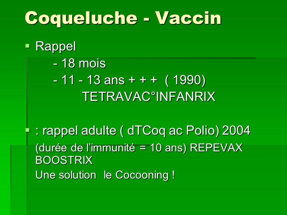Coqueluche - Vaccin Rappel Rappel - 18 mois - 11 - 13 ans + + + ( 1990) TETRAVAC°INFANRIX : rappel adulte ( dTCoq ac Polio) 2004 : rappel adulte ( dTC