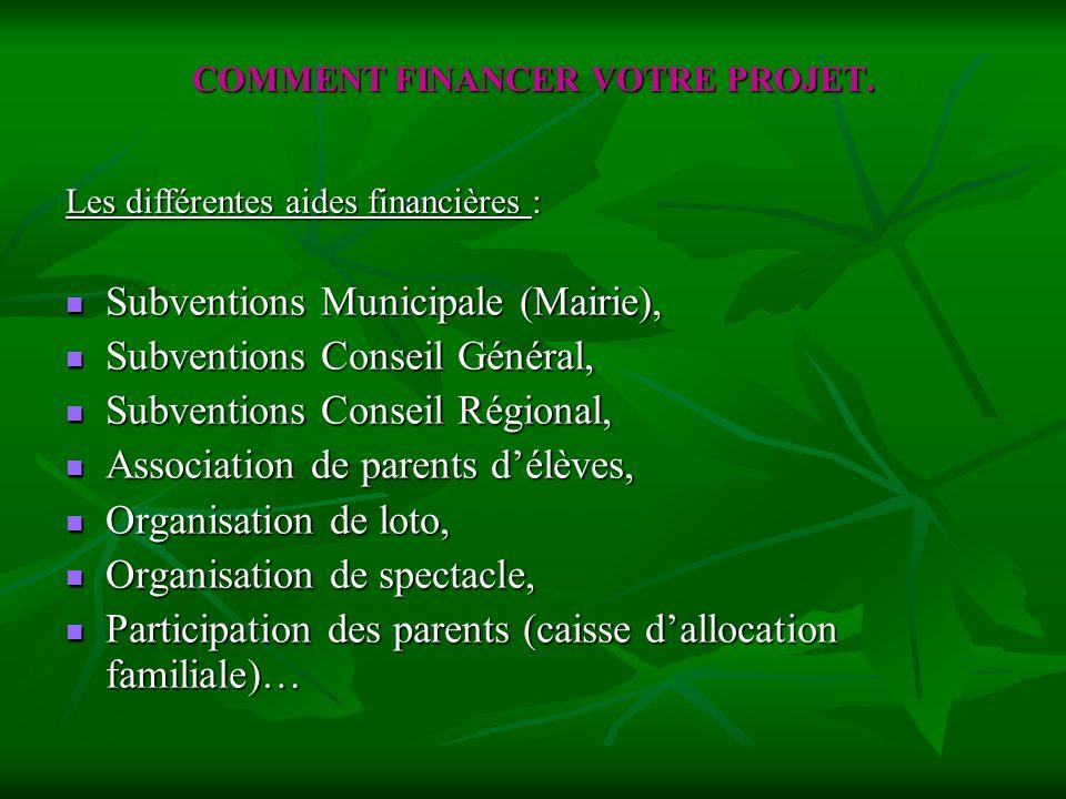 COMMENT FINANCER VOTRE PROJET. Subventions Municipale (Mairie), Subventions Municipale (Mairie), Subventions Conseil Général, Subventions Conseil Géné