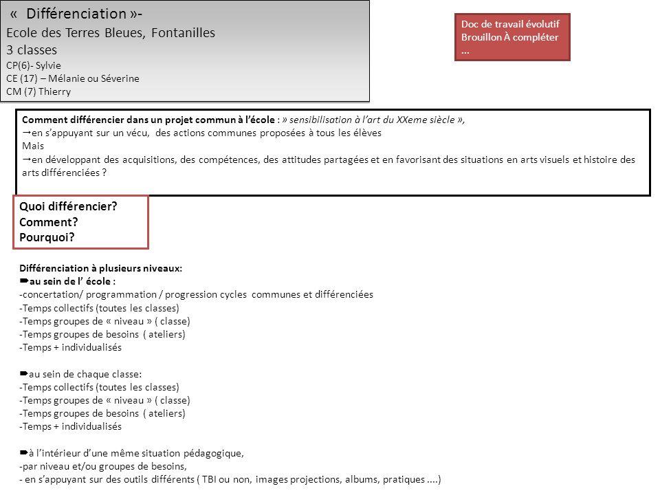 « Différenciation »- Ecole des Terres Bleues, Fontanilles 3 classes CP(6)- Sylvie CE (17) – Mélanie ou Séverine CM (7) Thierry « Différenciation »- Ecole des Terres Bleues, Fontanilles 3 classes CP(6)- Sylvie CE (17) – Mélanie ou Séverine CM (7) Thierry Comment différencier dans un projet commun à lécole : » sensibilisation à lart du XXeme siècle », en sappuyant sur un vécu, des actions communes proposées à tous les élèves Mais en développant des acquisitions, des compétences, des attitudes partagées et en favorisant des situations en arts visuels et histoire des arts différenciées .