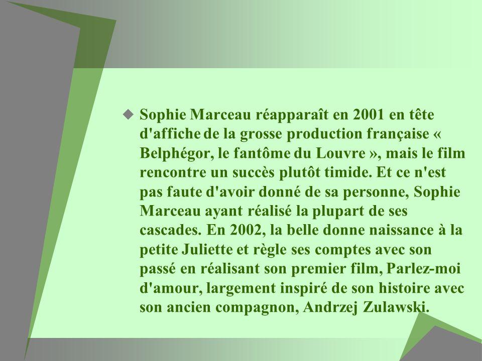 Sophie Marceau réapparaît en 2001 en tête d'affiche de la grosse production française « Belphégor, le fantôme du Louvre », mais le film rencontre un s