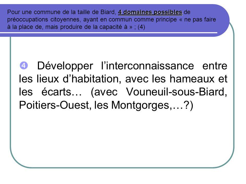 Développer linterconnaissance entre les lieux dhabitation, avec les hameaux et les écarts… (avec Vouneuil-sous-Biard, Poitiers-Ouest, les Montgorges,…