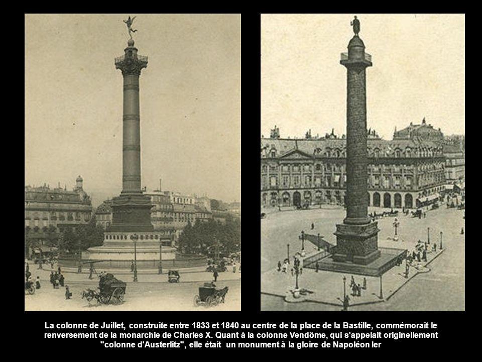 La colonne de Juillet, construite entre 1833 et 1840 au centre de la place de la Bastille, commémorait le renversement de la monarchie de Charles X.