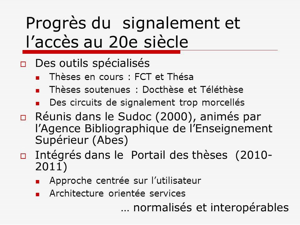Progrès du signalement et laccès au 20e siècle Des outils spécialisés Thèses en cours : FCT et Thésa Thèses soutenues : Docthèse et Téléthèse Des circ