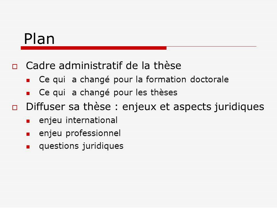 Plan Cadre administratif de la thèse Ce qui a changé pour la formation doctorale Ce qui a changé pour les thèses Diffuser sa thèse : enjeux et aspects